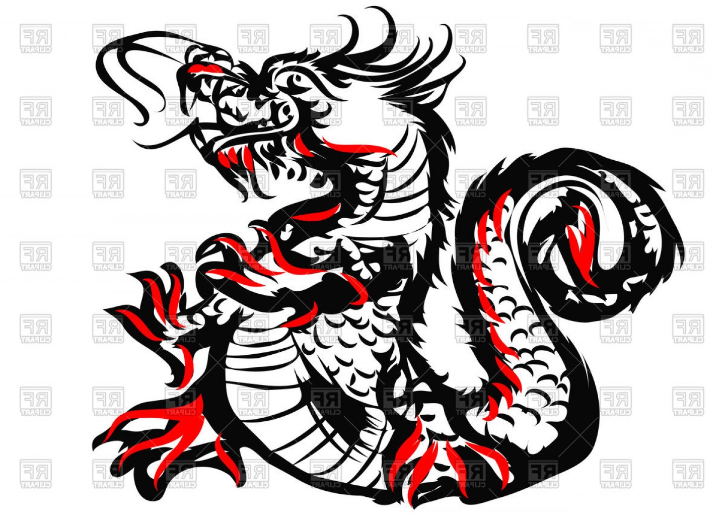 Oriental Dragon Vector: Sketch Of Chinese Dragon Vector Clipart