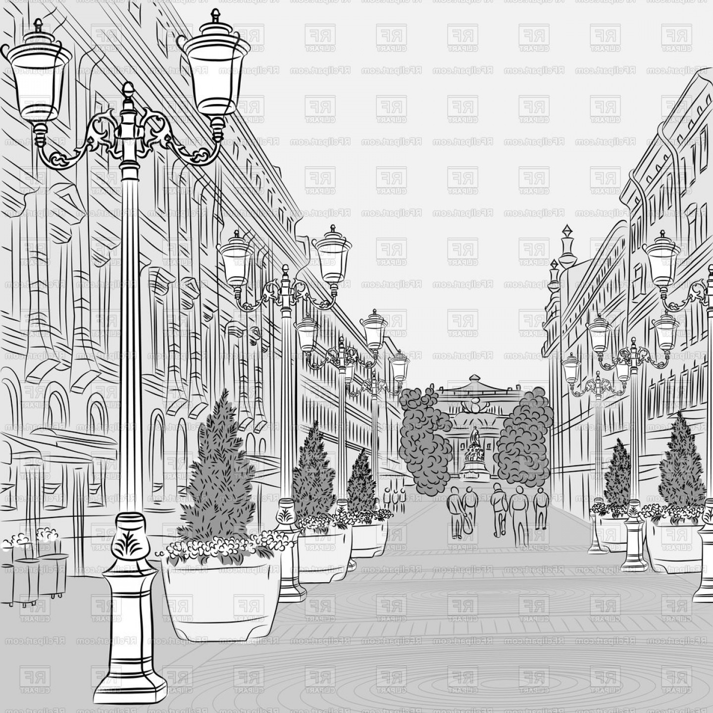 Perspective Vector: Sketch Of Cityscape In Perspective Vector Clipart
