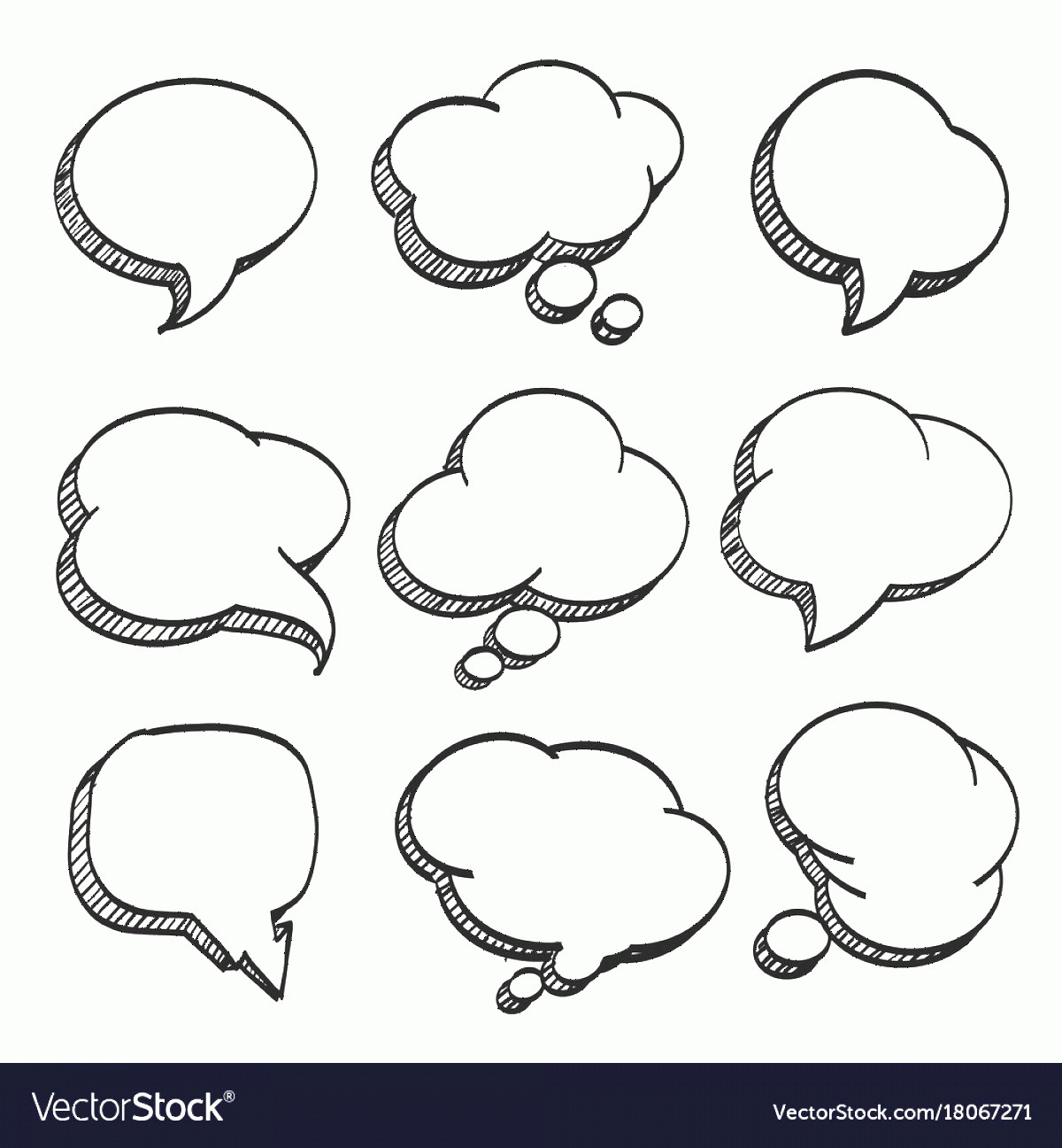 Thought Bubble Vector Sketch: Sketch Of Hand Drawn Comic Speech Bubble Vector
