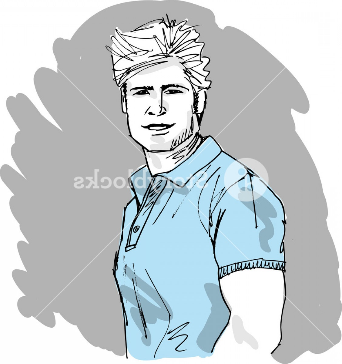Handsome Man Vector Outline: Sketch Of Handsome Man Face Vector Illustration Bvrxdjhmwjgolwx