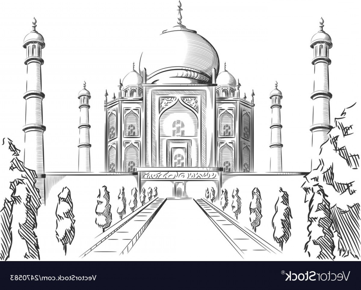 Taj Mahal Vector: Sketch Of India Landmark Taj Mahal Vector