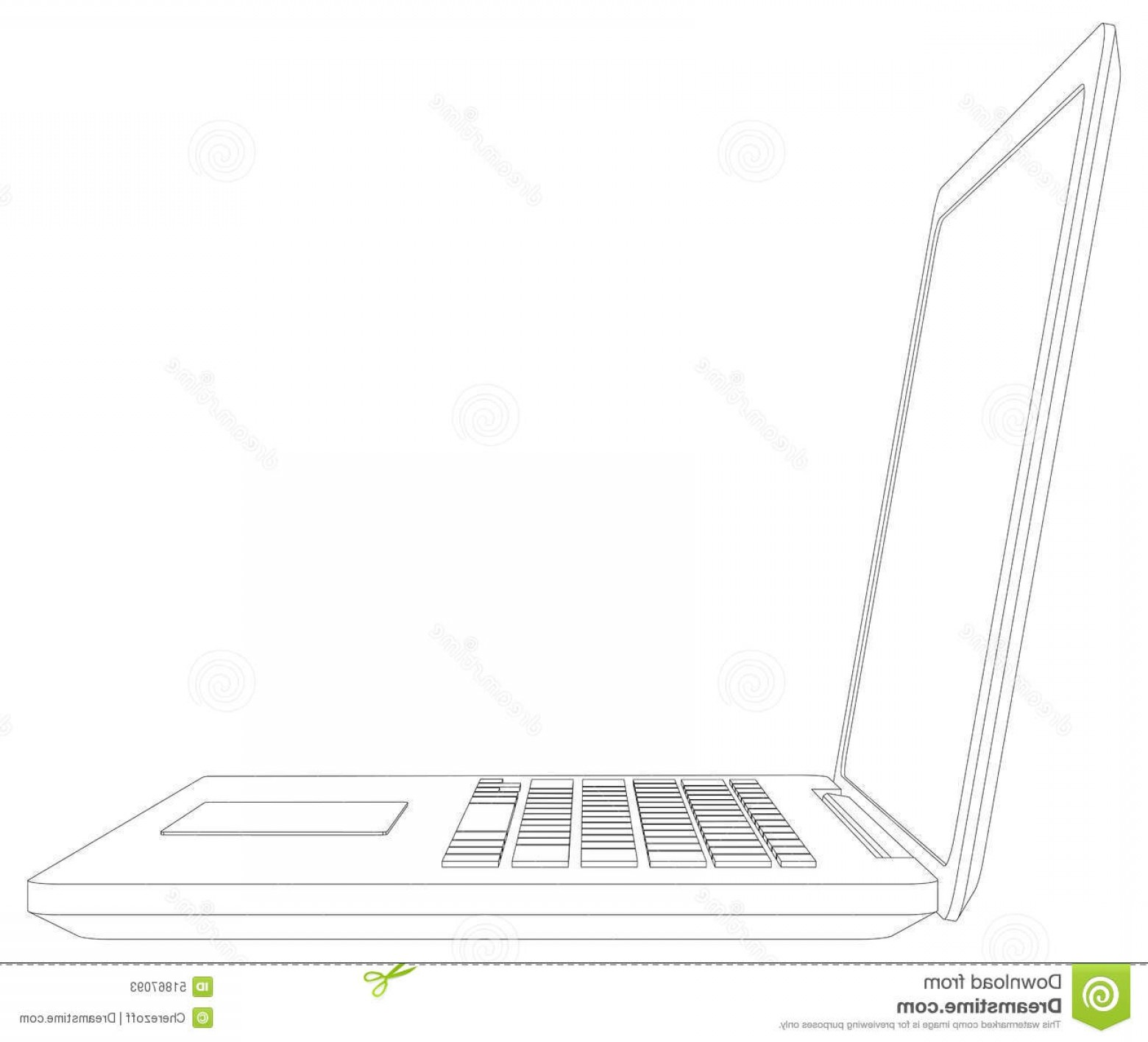 Laptop Vector Frame: Sketch Of Wire Frame Open Laptop Vector Illustration
