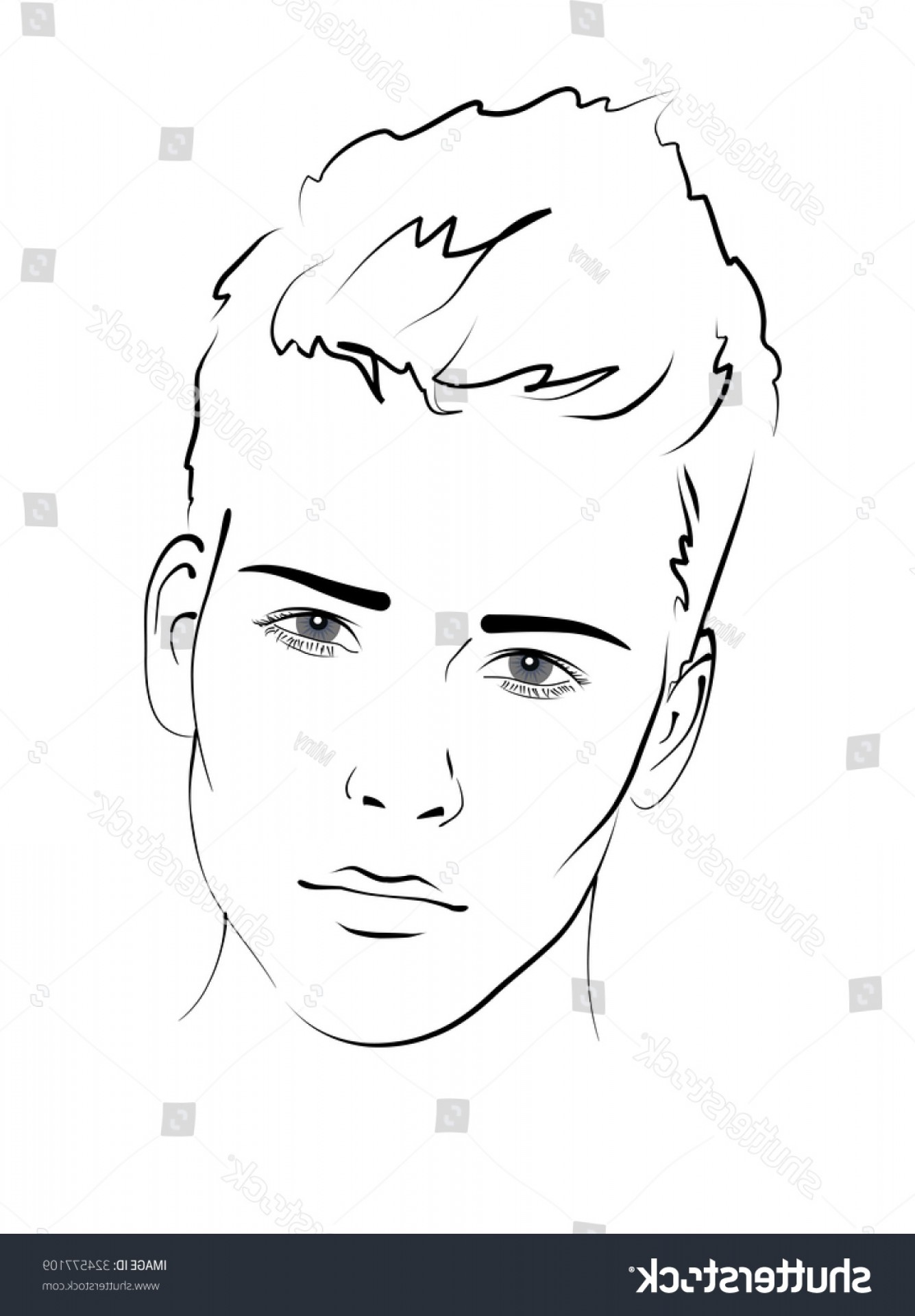 Handsome Man Vector Outline: Sketch Portrait Handsome Man Face Closeup