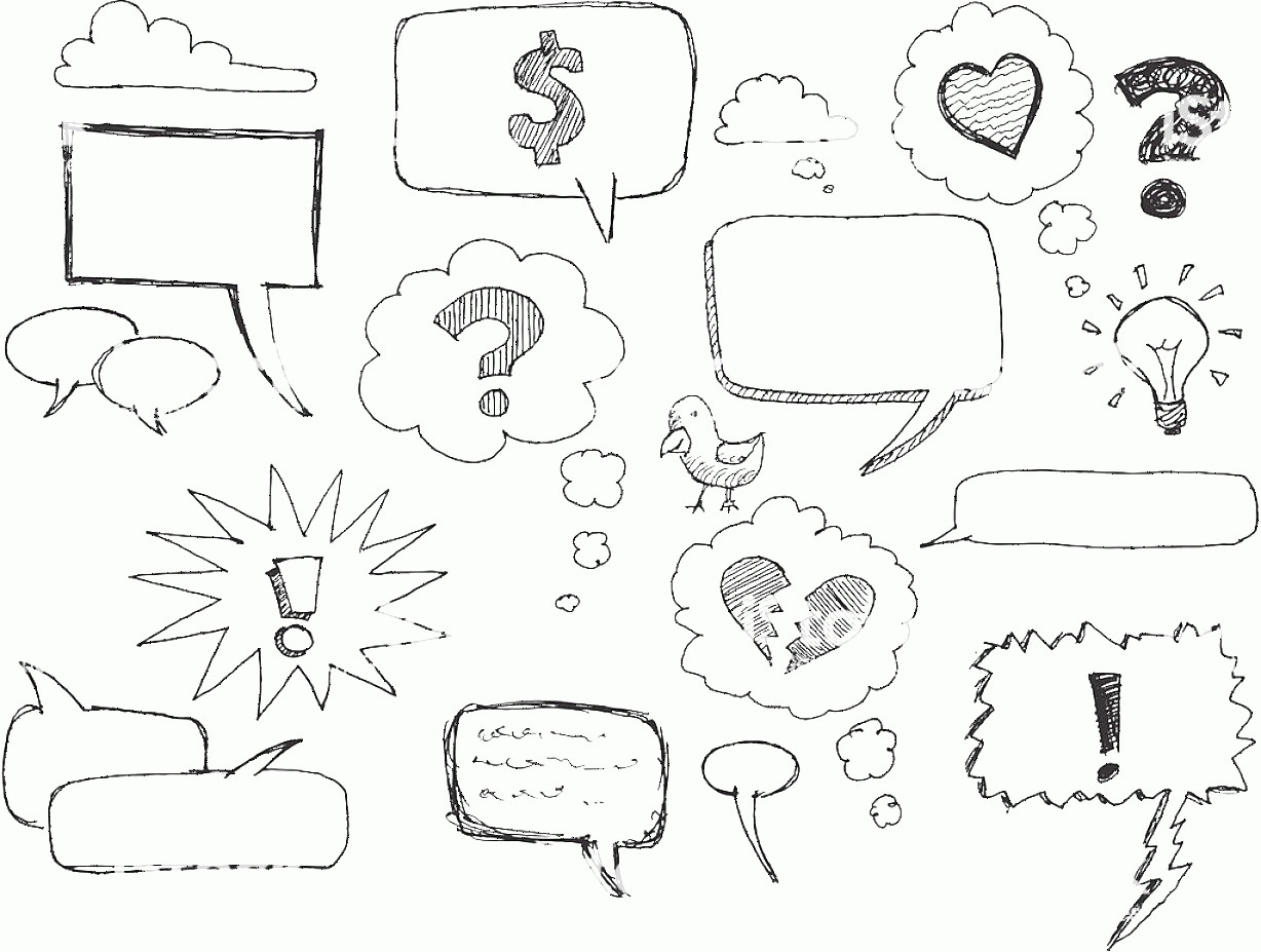 Thought Bubble Vector Sketch: Sketch Speech Thought Bubbles Gm