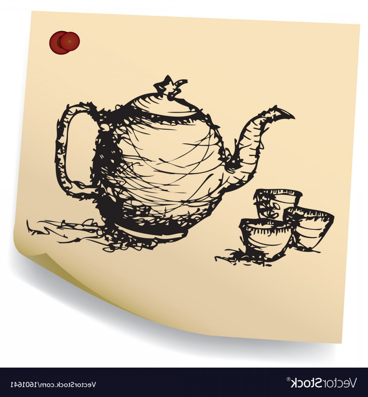 Teapot And Cup Vector: Sketch Teapot With Cup On Sticky Paper Vector