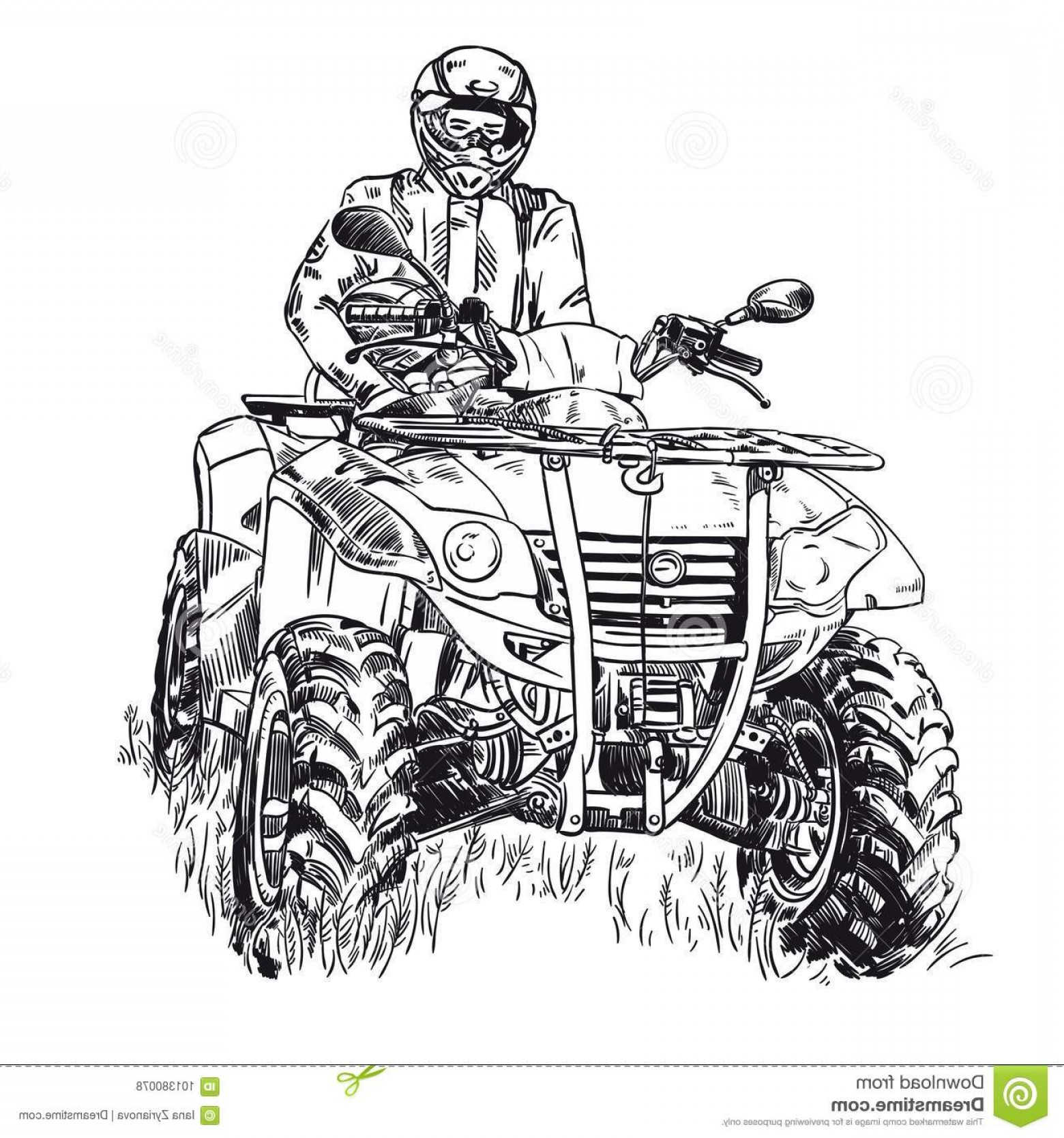 ATV Vector Clip Art: Sketch Vector Illustration Quad Bike Silhouette Atv Logo Design White Background Sketch Vector Illustration Quad Bike Image