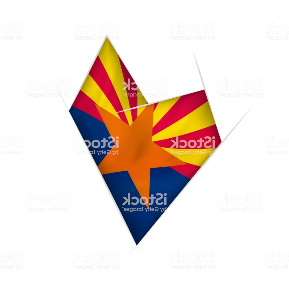 Arizona Flag Vector: Sketched Crooked Heart With Arizona Flag Gm