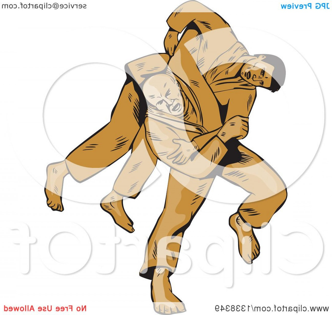 Judo Throw Vector Graphics: Sketched Or Engraved Judo Judoka Combatant Throwing Takedown An Opponent