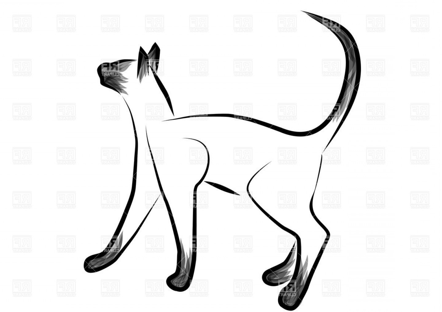 Siamese Cat Vector Transparent Background: Sketched Siamese Cat Vector Clipart