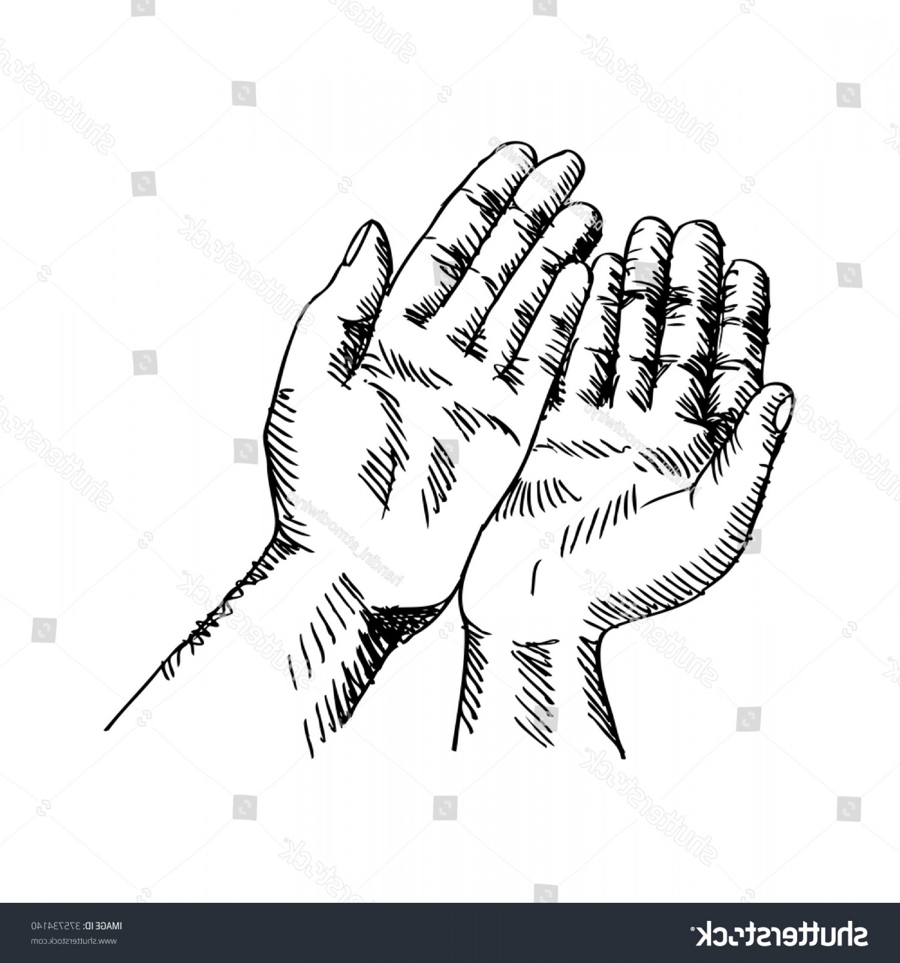 Praying Hands Vectors Shutterstock: Sketchy Illustration Praying Hands Vector