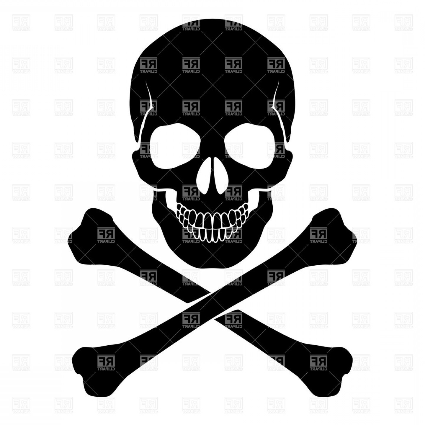 Skull ND Crossbones Vector: Skull And Crossbones Danger Warning Vector Clipart