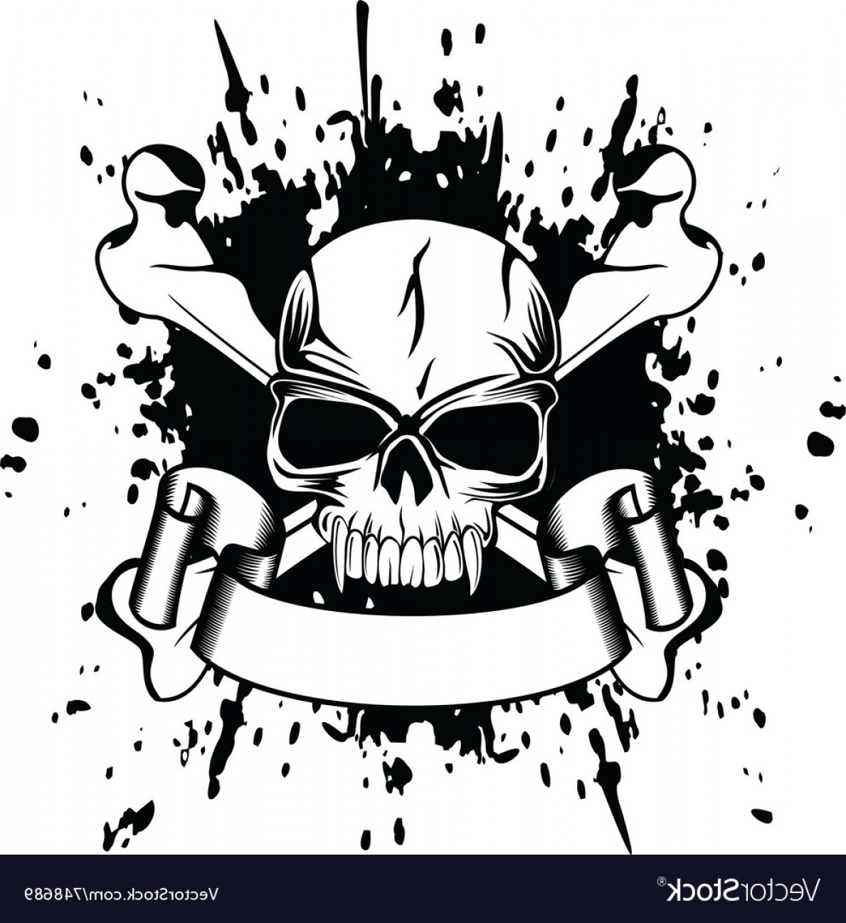 Skull ND Crossbones Vector: Skull And Crossed Bones Vector