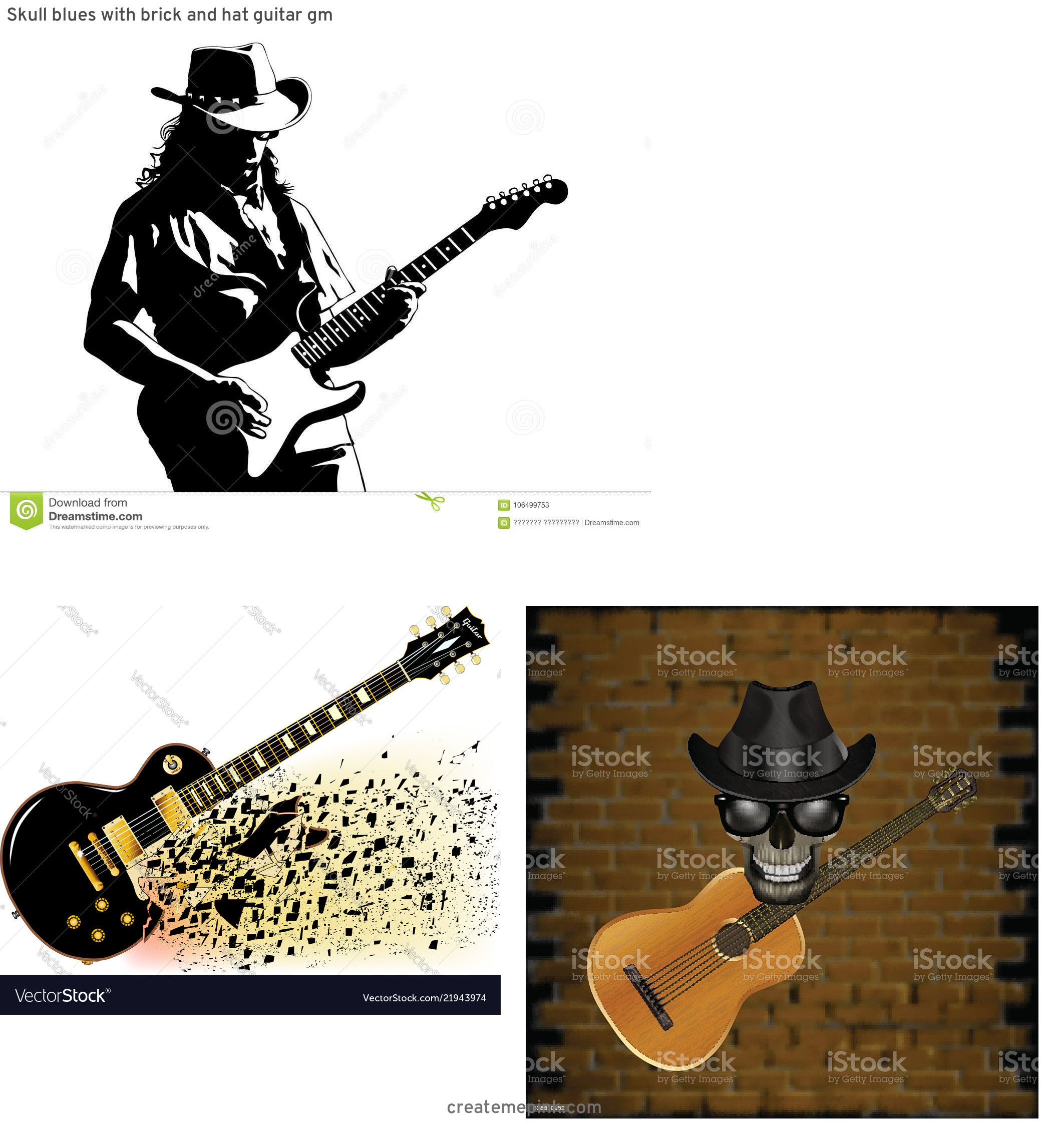 Blues Guitarist Vector Art: Skull Blues With Brick And Hat Guitar Gm