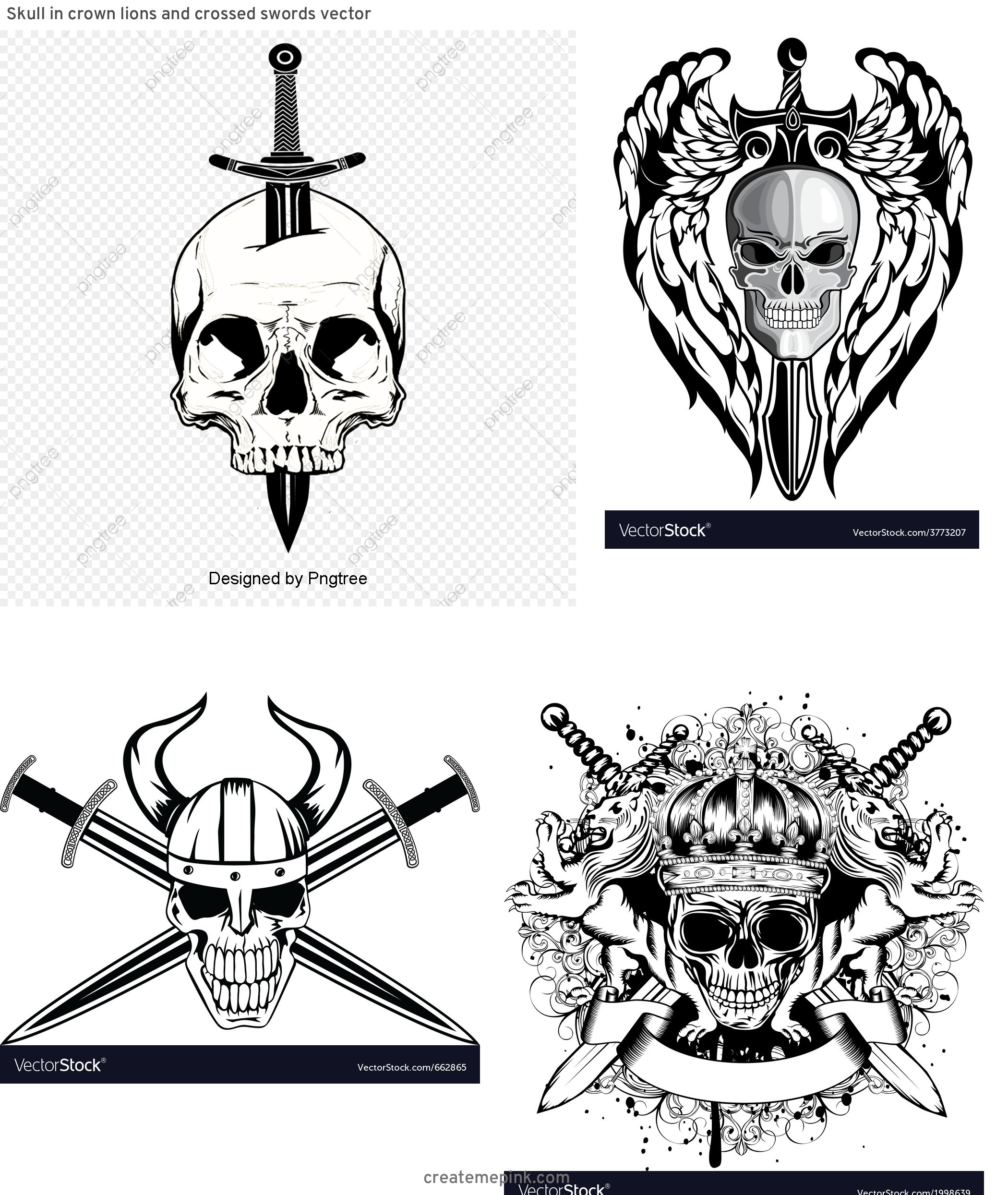 Skull Sword Vector: Skull In Crown Lions And Crossed Swords Vector