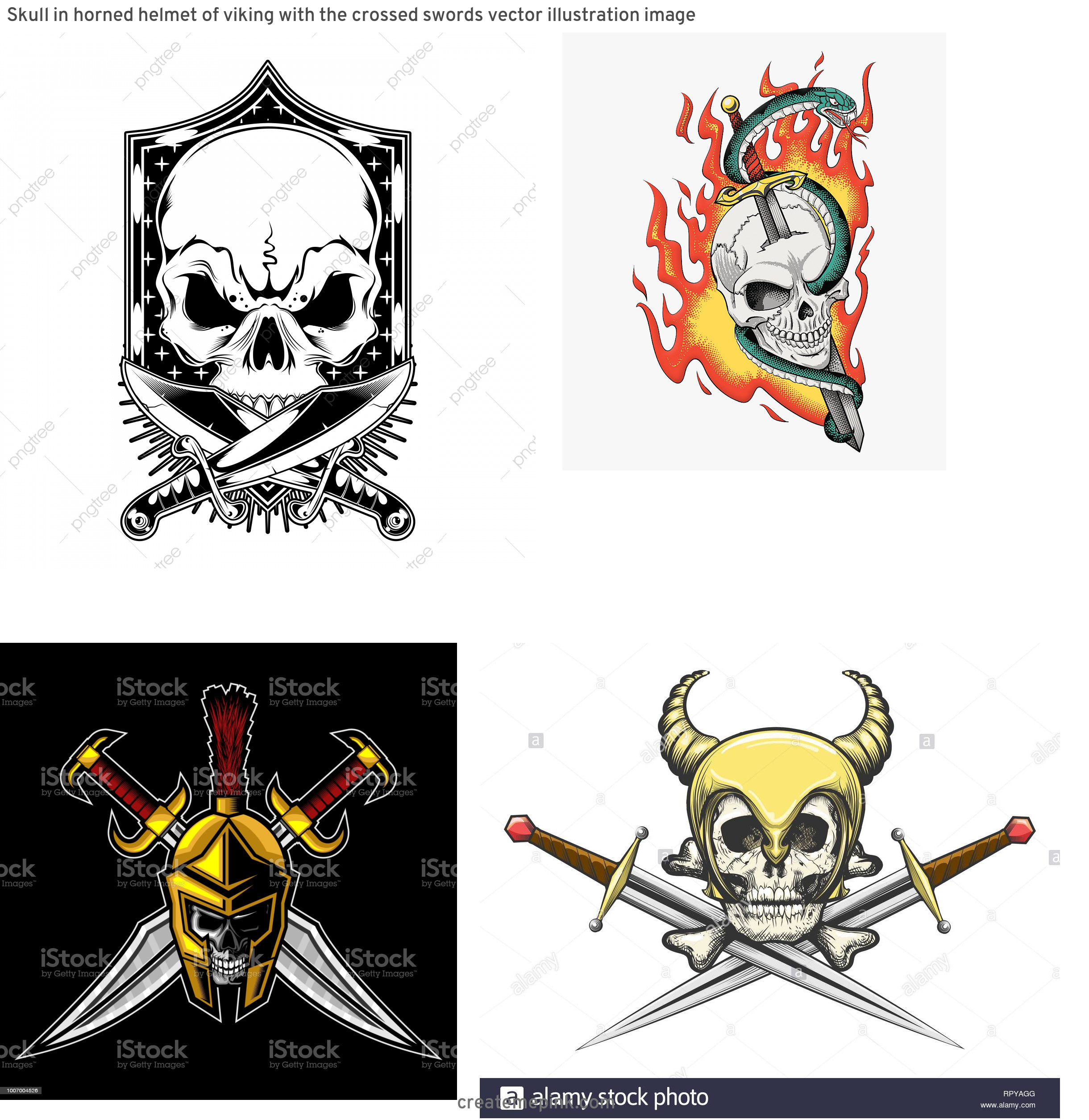 Skull Sword Vector: Skull In Horned Helmet Of Viking With The Crossed Swords Vector Illustration Image