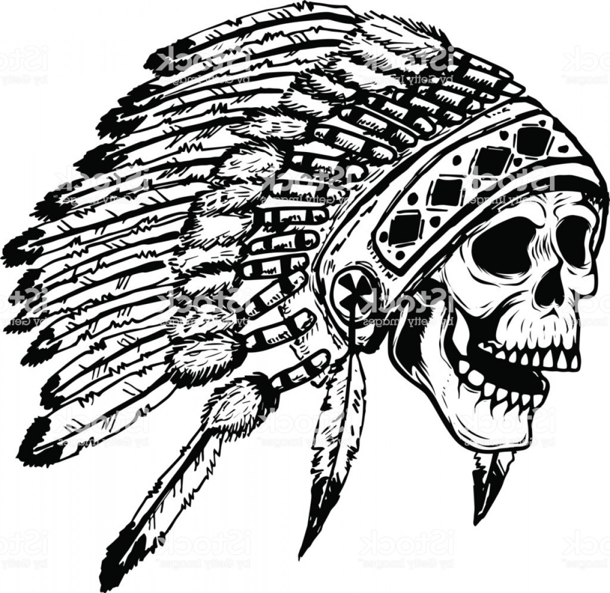 American Indian Chief Vector: Skull In Native American Indian Chief Headdress Design Element For Poster T Shirt Gm