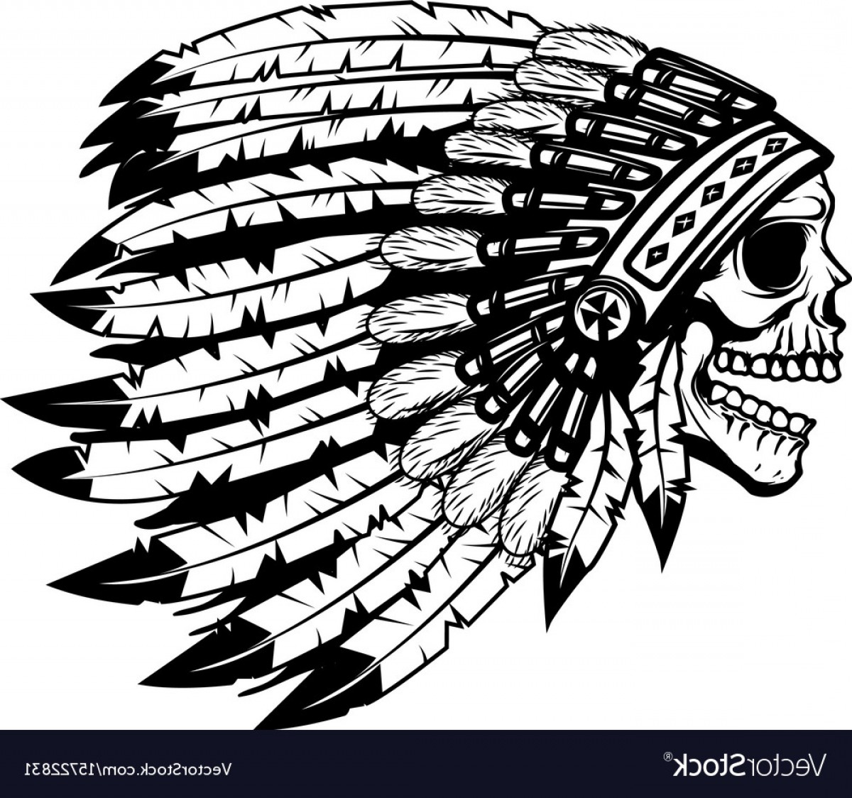 American Indian Chief Vector: Skull In Native American Indian Chief Headdress Vector