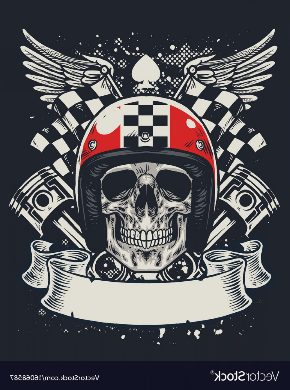 Skull Vector T-shirt Illustration: Skull Of Biker In T Shirt Style Design Vector