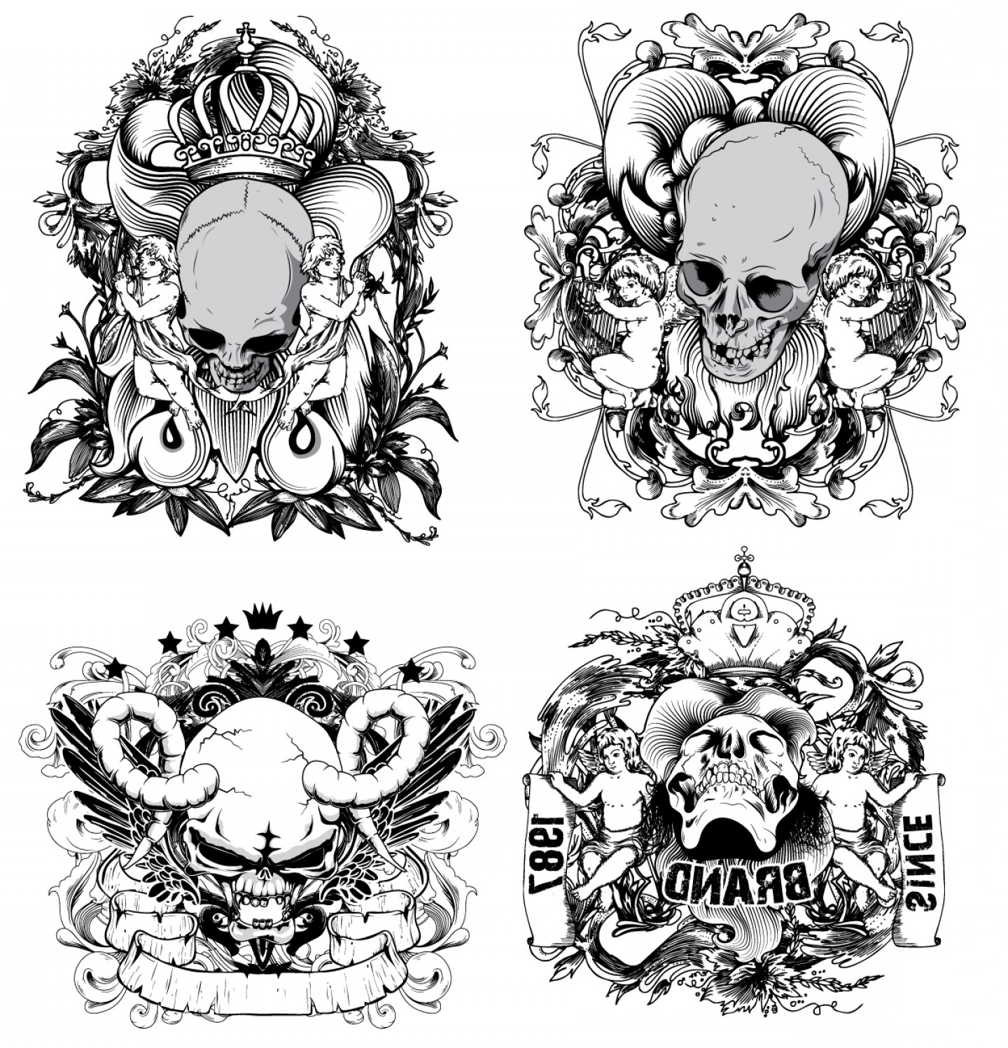 Skull Vector T-shirt Illustration: Skull T Shirt Designs Logos Vector