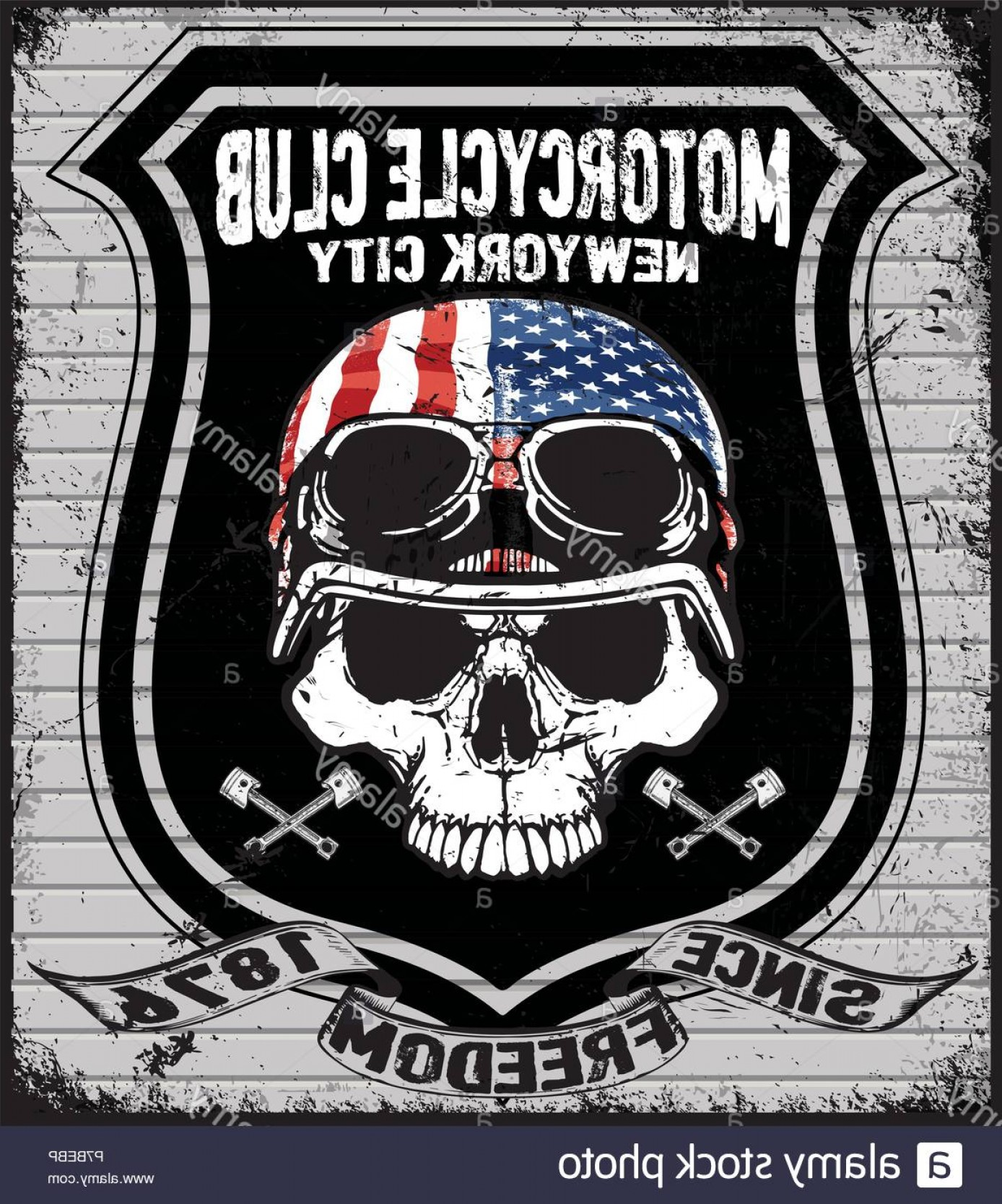 Motorcycle Club Vector: Skull T Shirt Graphic Design Motorcycle Club Image