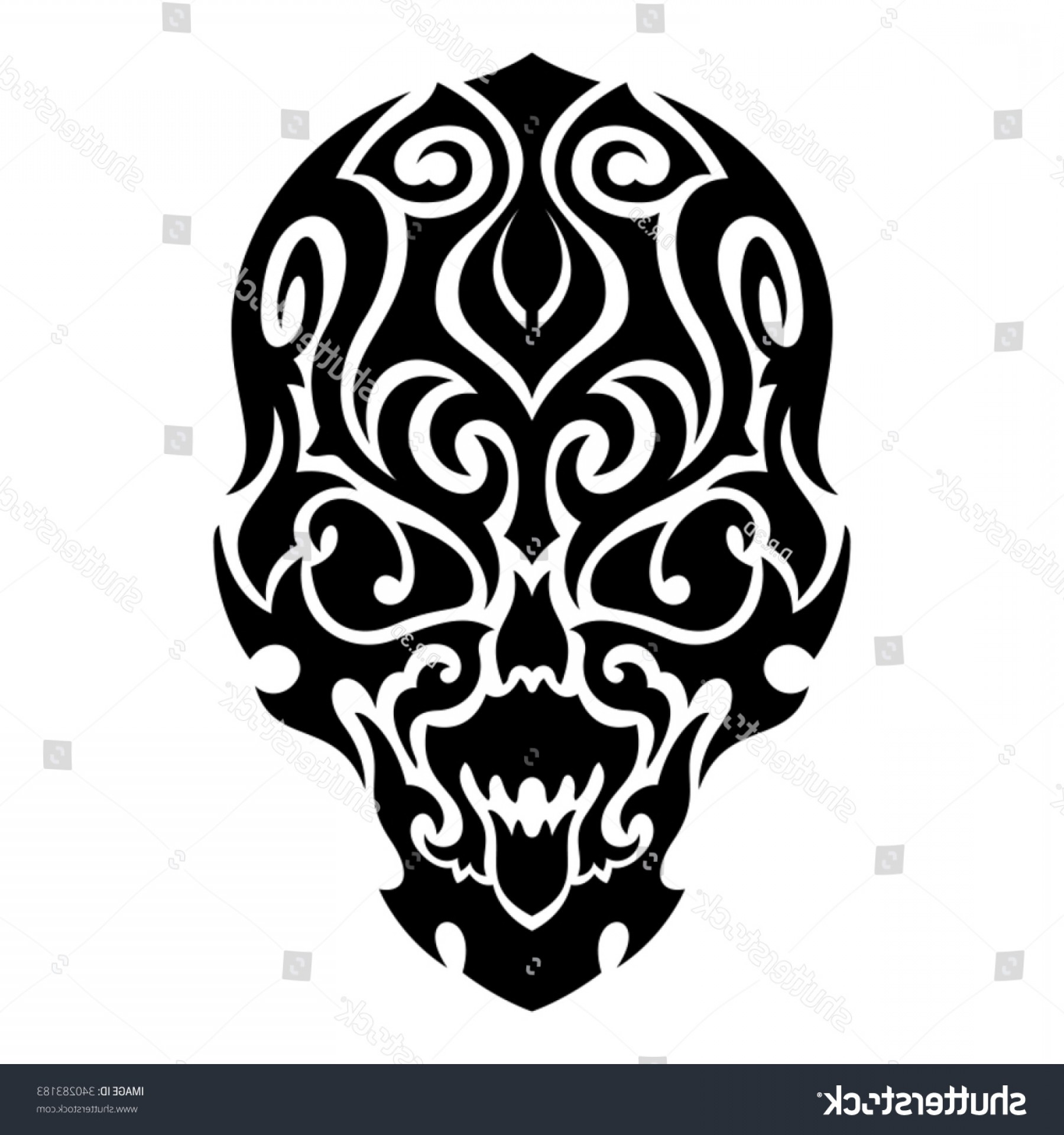 Tribal Vector Horseshoe Image: Skull Tribal Tattoo Vector Illustration