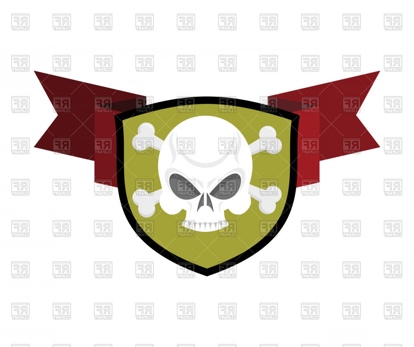 Cross And Ribbon Vector: Skull With Cross Bones And Shield Red Ribbon Vector Clipart