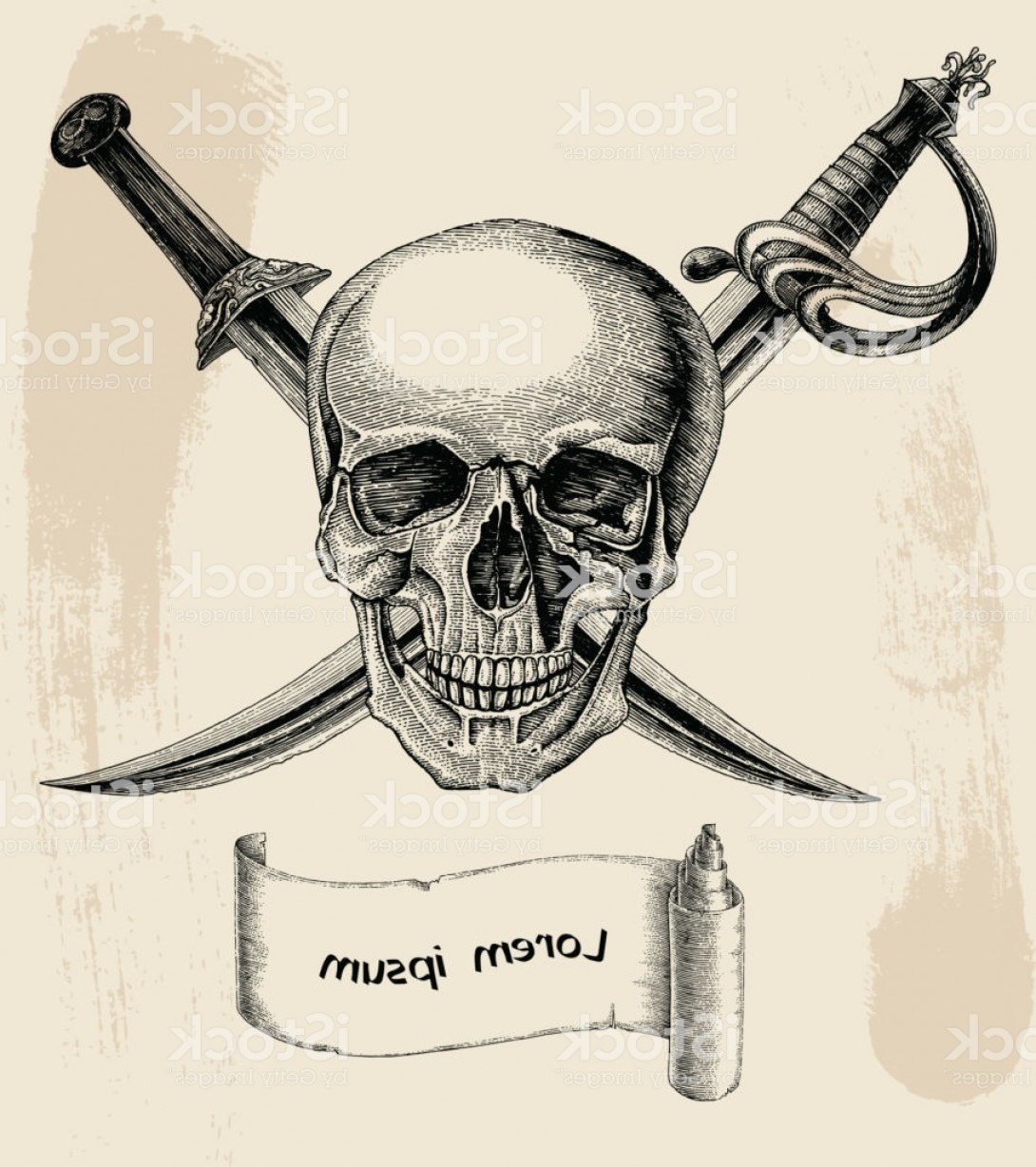Pirate Swords Crossed Vectors: Skull With Crossed Swords Pirate Symbol Logo Hand Drawing Vintage Style With Banner Gm