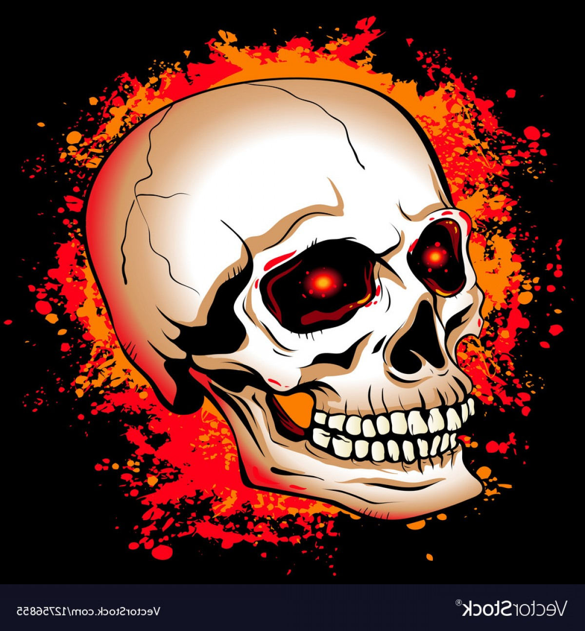 Eye Tribal Skull Vector: Skull With Glowing Red Eyes On A Background Of The Vector