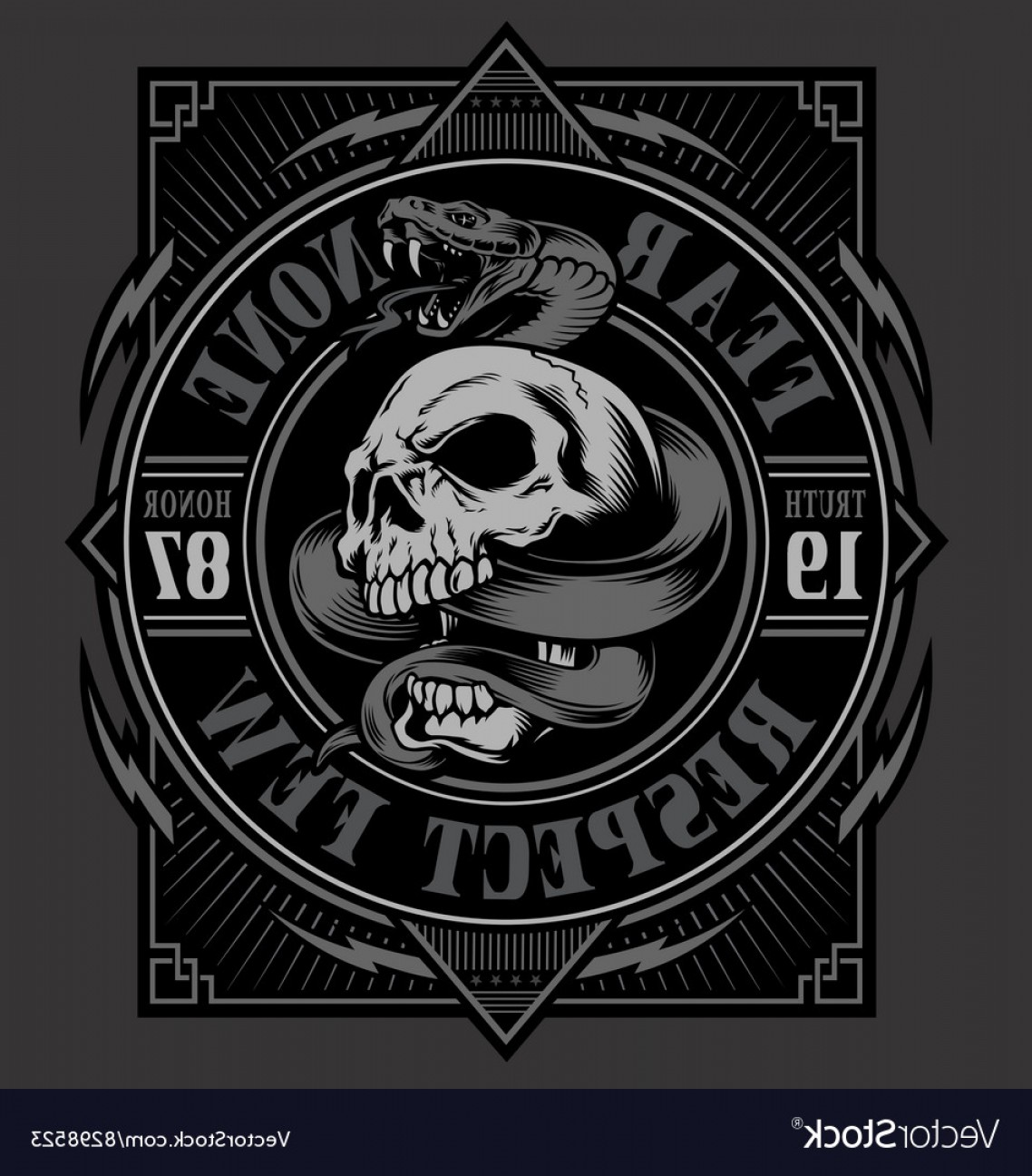 Skull Vector T-shirt Illustration: Skull With Snake T Shirt Design Vector
