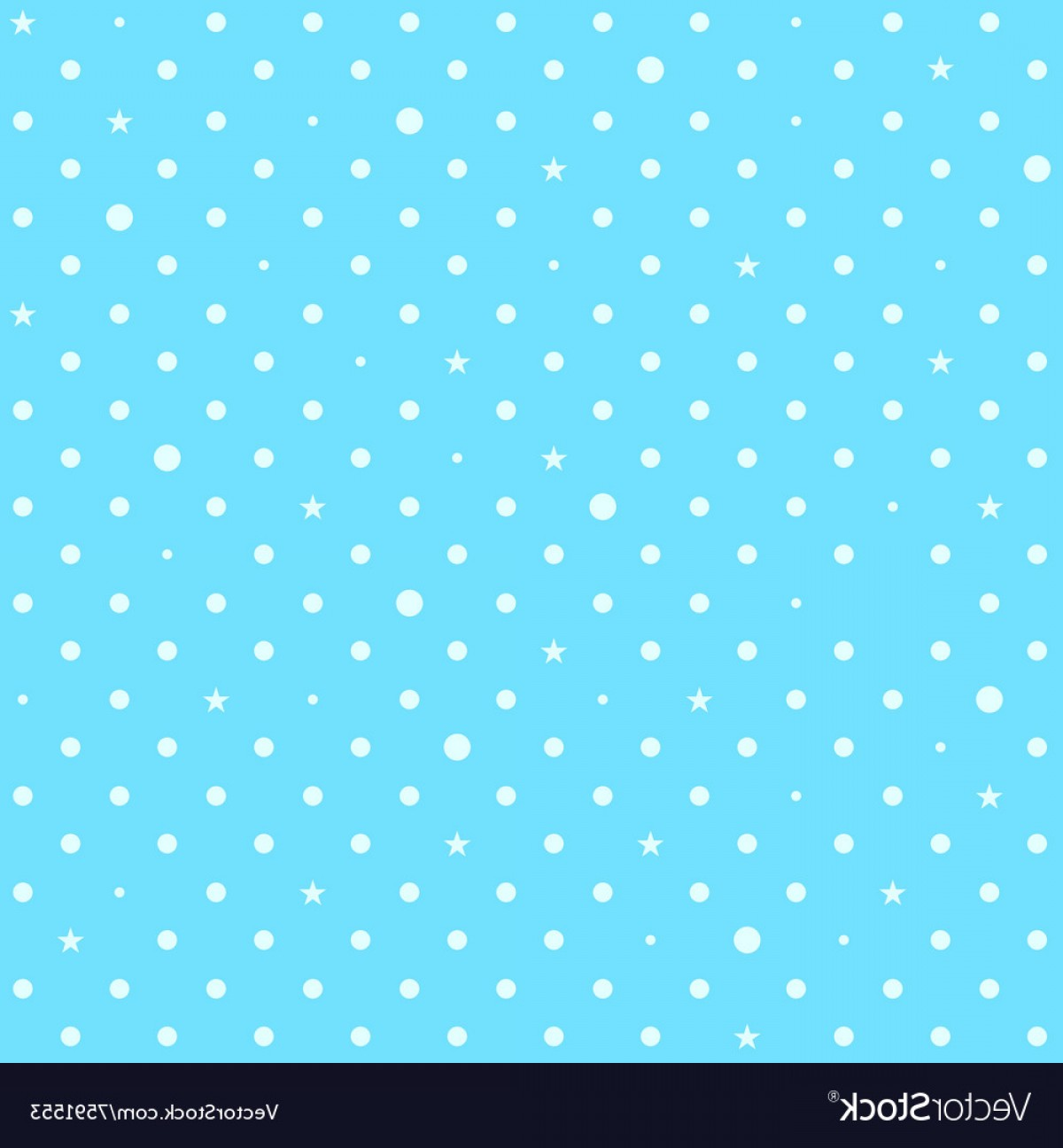 Blue With White Background Vector: Sky Blue White Star Polka Dots Background Vector