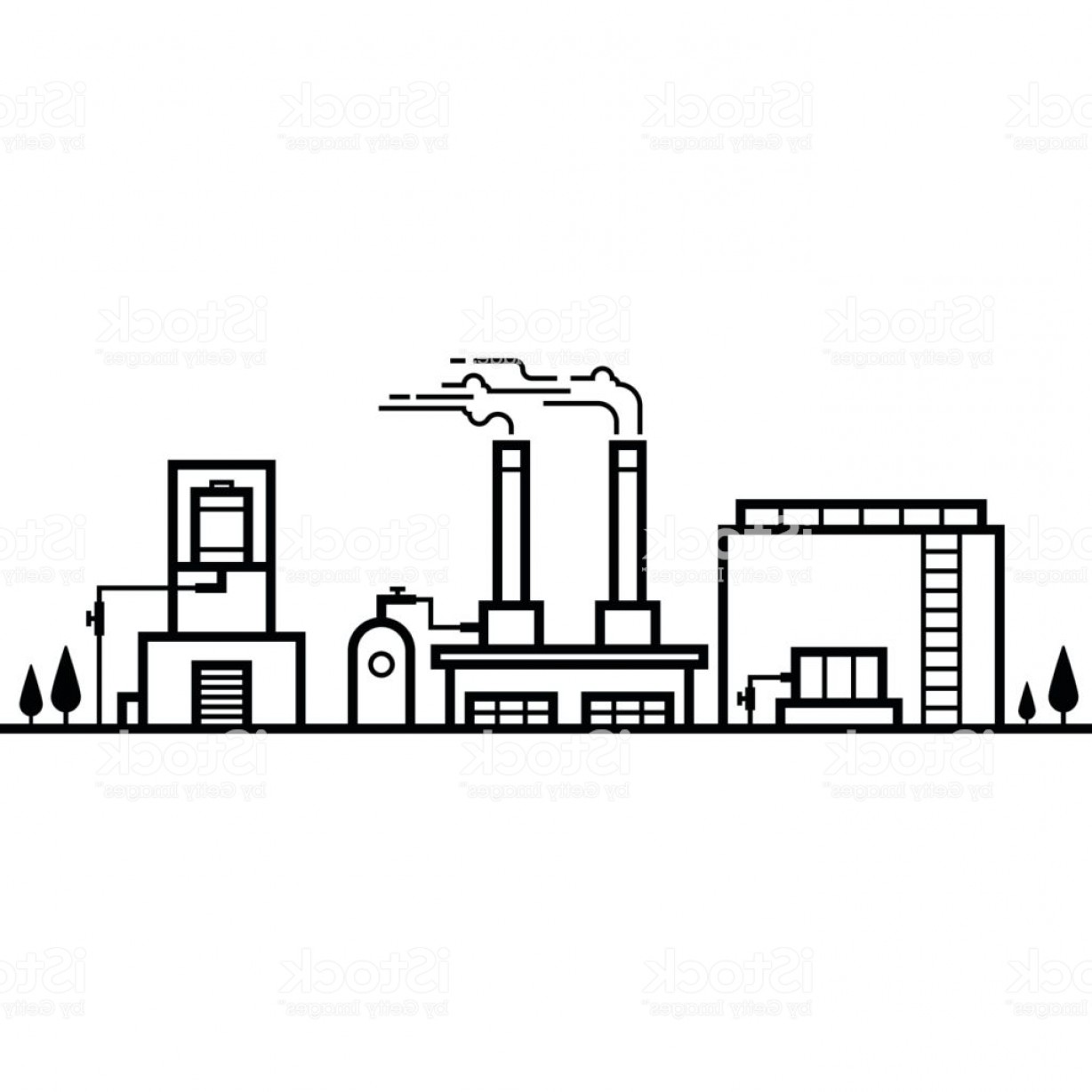 Factory Vector Skyline: Skyline Of Factory Industry Black And White Line Gm