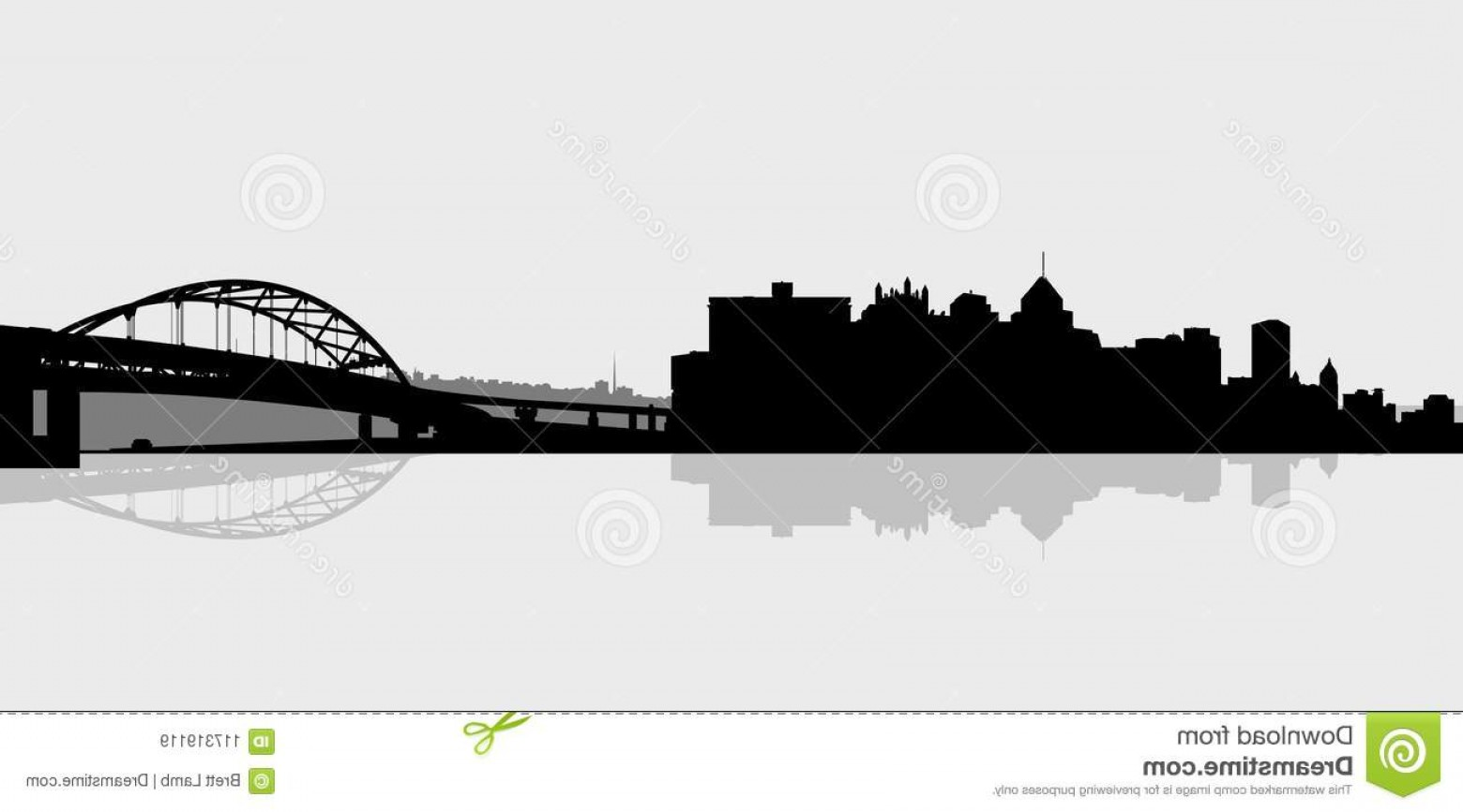 Pittsburgh City Skyline Vector: Skyline Silhouette Downtown City Pittsburgh Pennsylvania Usa View Across River Showing Bridge Image