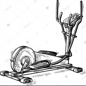 Vector Gym Equipment: Sketch Hand Drawn Gym Equipment Machine Elliptical Vector Illustration Image