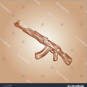 Vector Gun Drawing AK-47: Sketch Kalashnikov Assault Rifle Ak Automat