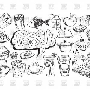 Correct Clipart- Vector: Sketch Of Food Icons Vector Clipart