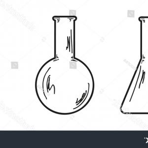 Three Flask Vector: Sketch Three Empty Flasks Vector Isolated