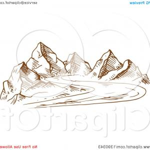 Rocky Mountain Line Art Vector: Abstract Desert Landscape With Rocky Mountains And Cactus Icon Over White Background Colorful Design Vector Illustration Image