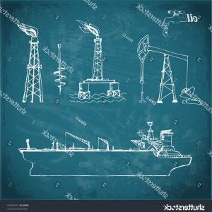 Oilfield Vector Crosses: Sketches Oil Rigs Offshore Drilling Platform