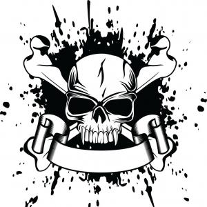 Skull ND Crossbones Vector: Engraving Illustration Of Skull And Crossbones Vector Clipart