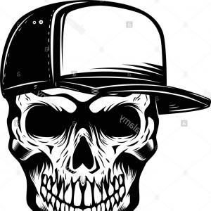 Black Trucker Hat Vector: Skull In Baseball Hat Isolated On White Background Design Element For Logo Label Emblem Sign Vector Illustration Image