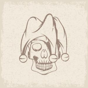 Vector Skull Art Joker: Skull In Jester Cap Grunge Design Template Vector