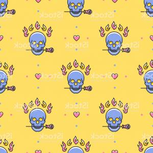 Thin Blue Line Skull Vector: Skull Seamless Pattern Colorful Skull In A Trendy Thin Line Art Style On A Yellow Gm