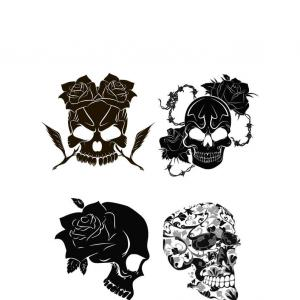 Harley -Davidson Skull Logo Vector: Skull In Motorcycle Helmet With Wings Design Element For Logo Label Emblem Sign Poster T Shirt