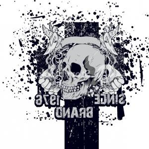 Grunge Scroll Vector Design: Skull With Grunge Vector T Shirt Design Svulrowjgoozu