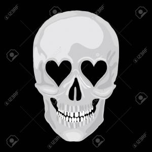 Vector Skull Love: Skull With Inscription Love Is Dead Pierced By Vector