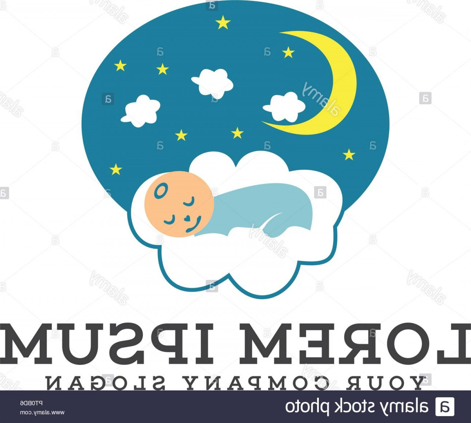 Sleeping Baby Vector: Sleeping Baby Logo Design Concept Template Image