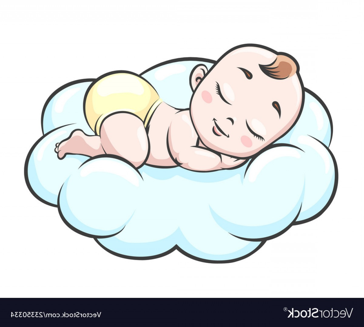 Sleeping Baby Vector: Sleeping Baby On Cloud Vector