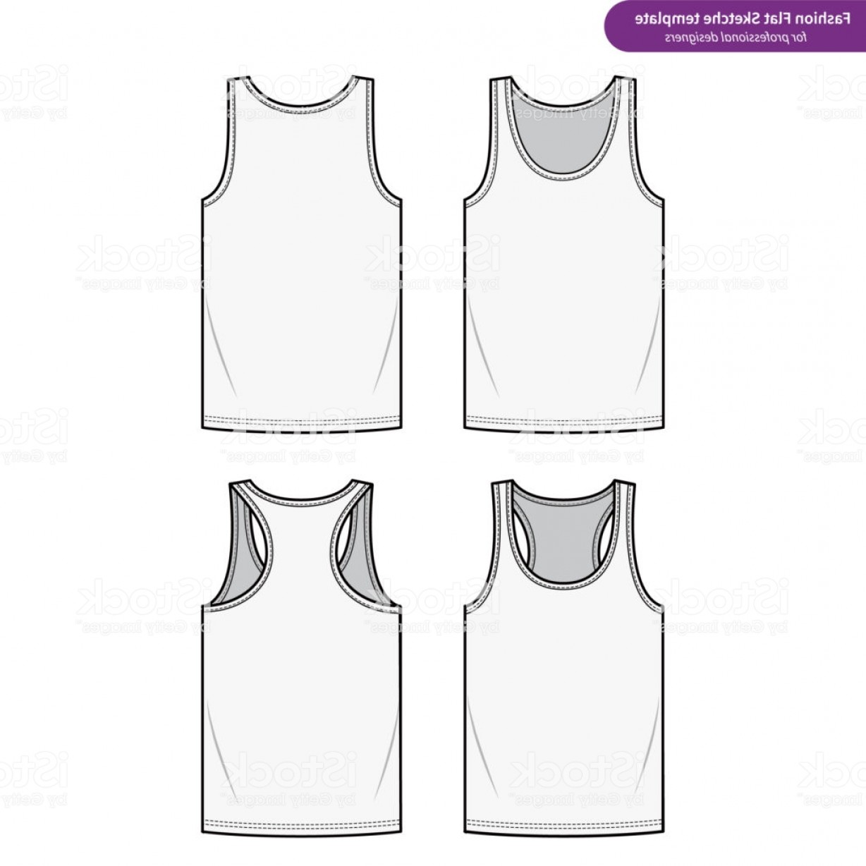 Best Tank Top Vector: Sleeveless Tank Top Fashion Flat Technical Drawing Vector Template Gm
