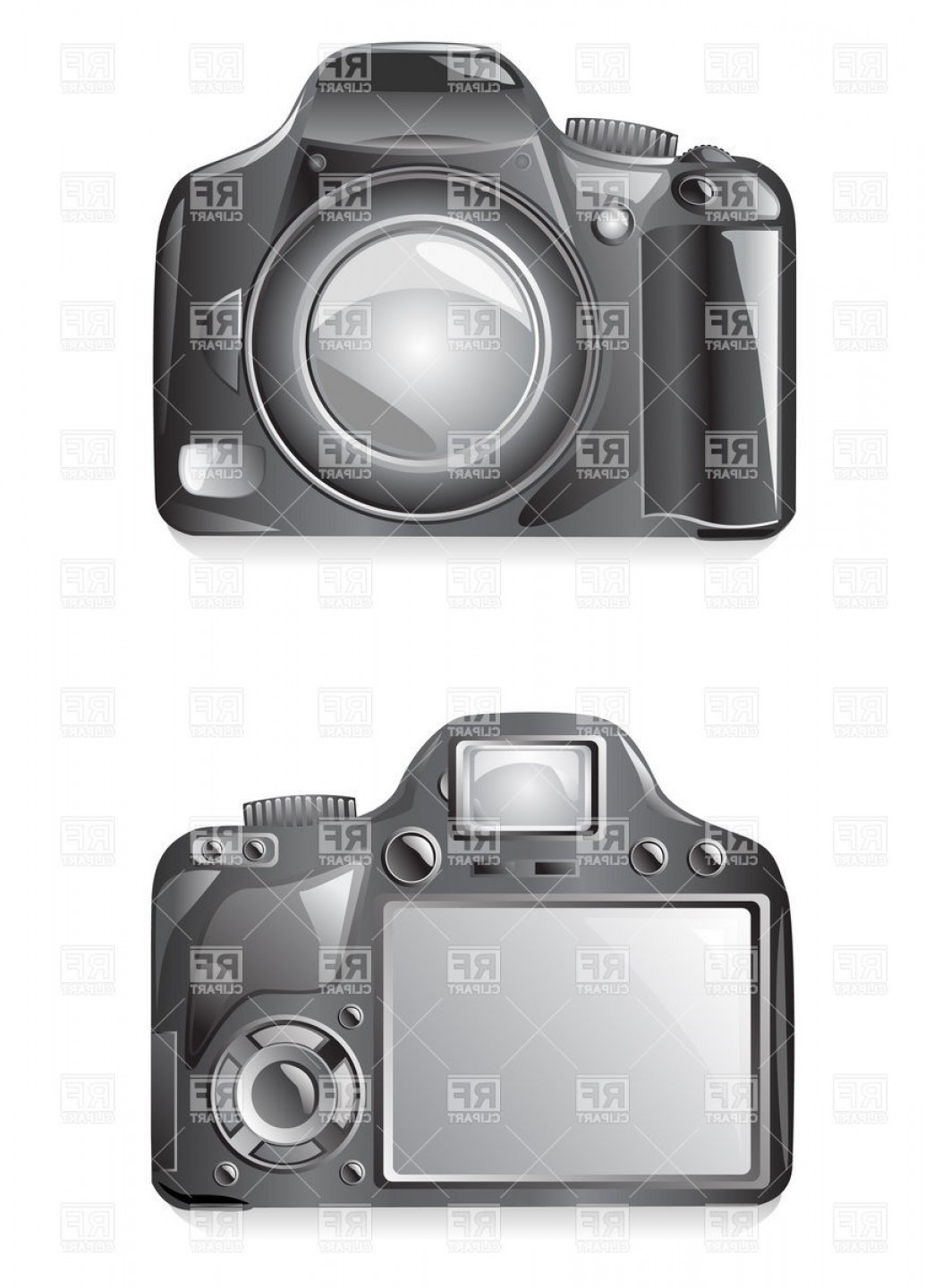 SLR Camera Vector: Slr Photo Camera Front And Rear View Vector Clipart