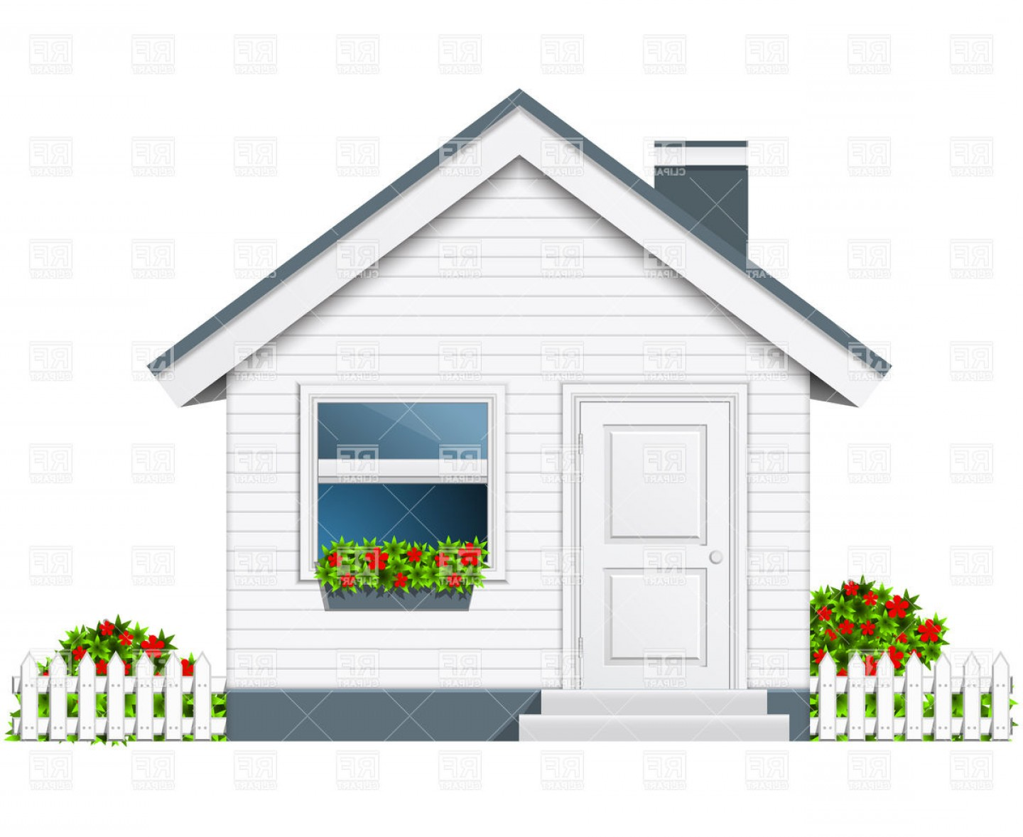 House Clip Art Vector: Small Country House With Porch And Flue Vector Clipart